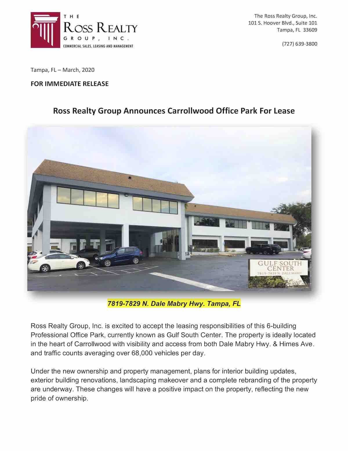 Ross Realty Group Announces Carrollwood Office Park For Lease