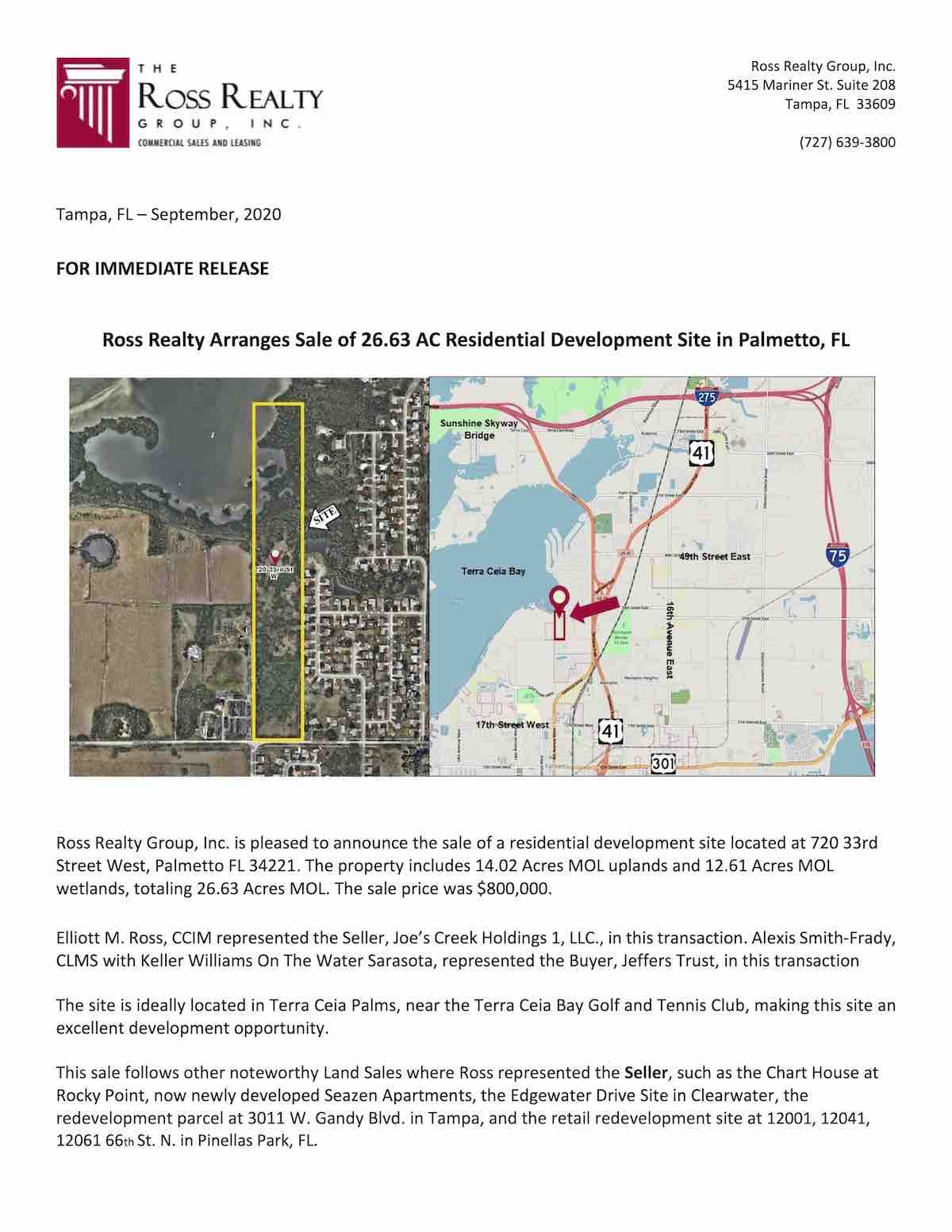 Ross Realty Arranges Sale of 26.63 AC Residential Development Site in Palmetto, FL