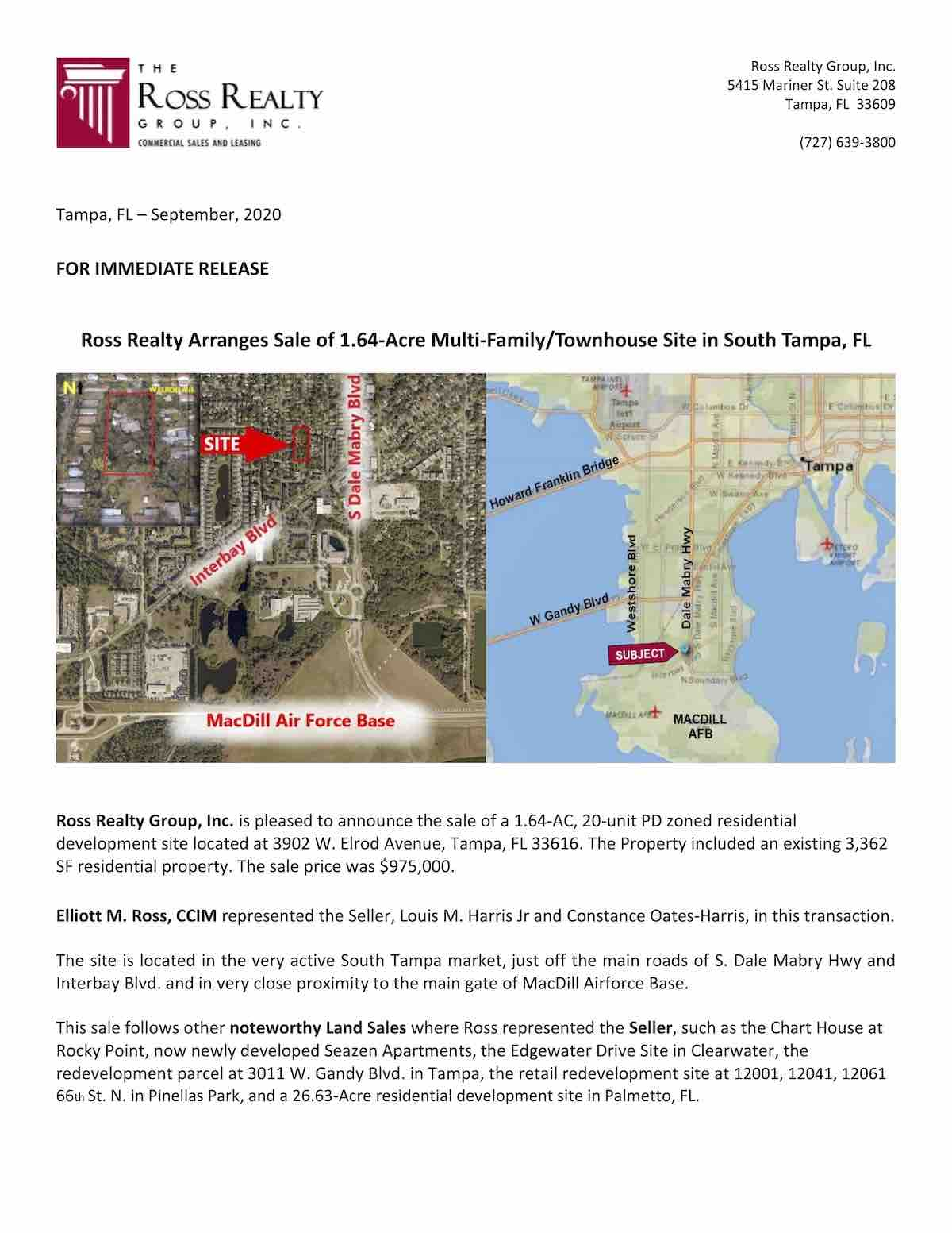 Tampa Commercial Real Estate - Elrod Press Release 9-20 page 1
