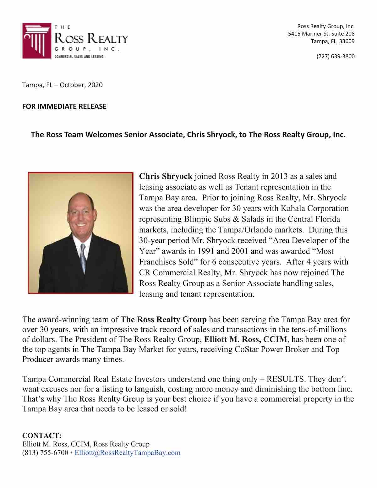 Tampa Commercial Real Estate - Chris Shryock Press Release