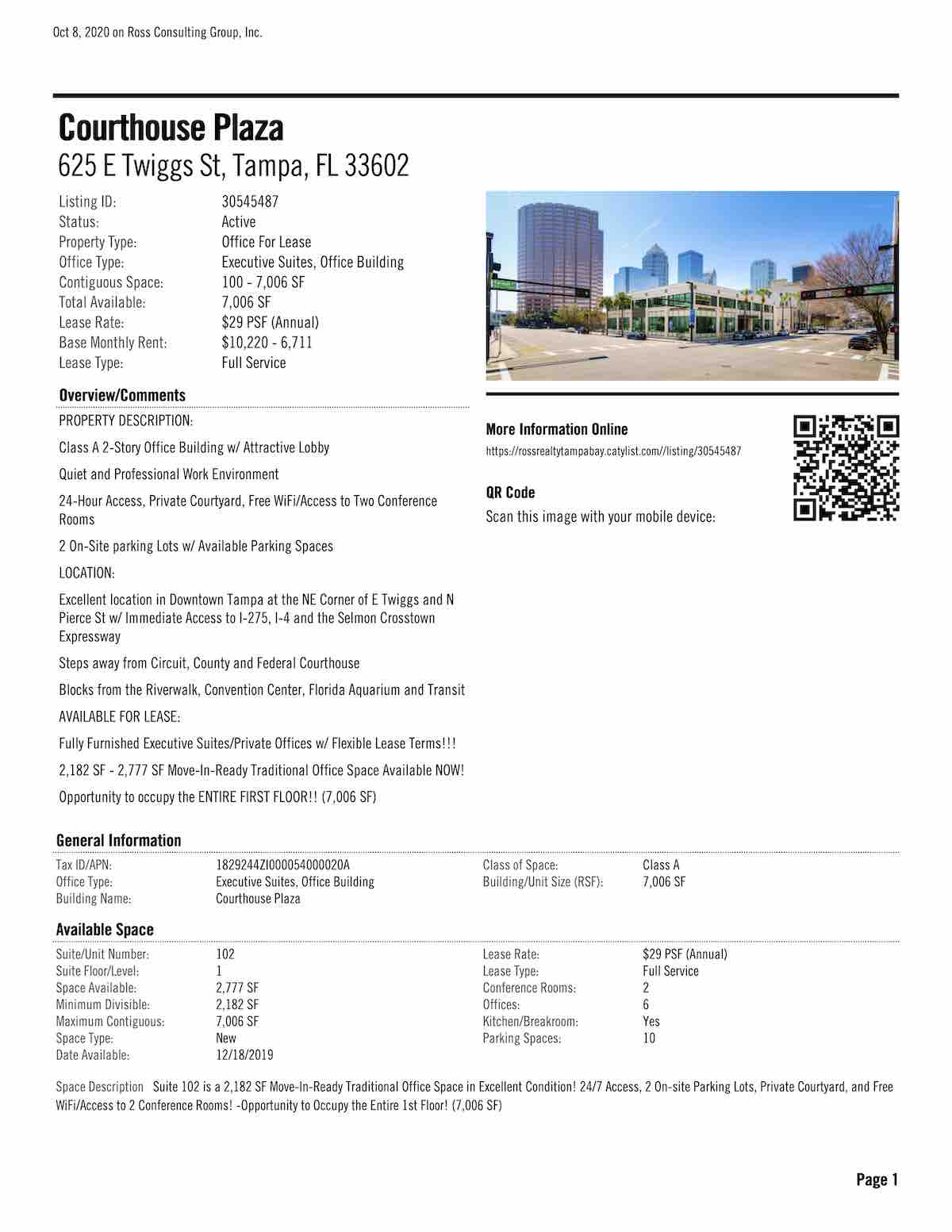 Tampa Commercial Real Estate - FOR LEASE - Courthouse Plaza - 625 E Twiggs St, Tampa, FL 33602 P1