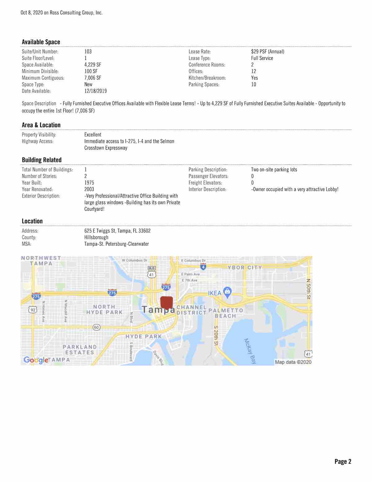 Tampa Commercial Real Estate - FOR LEASE - Courthouse Plaza - 625 E Twiggs St, Tampa, FL 33602 P2
