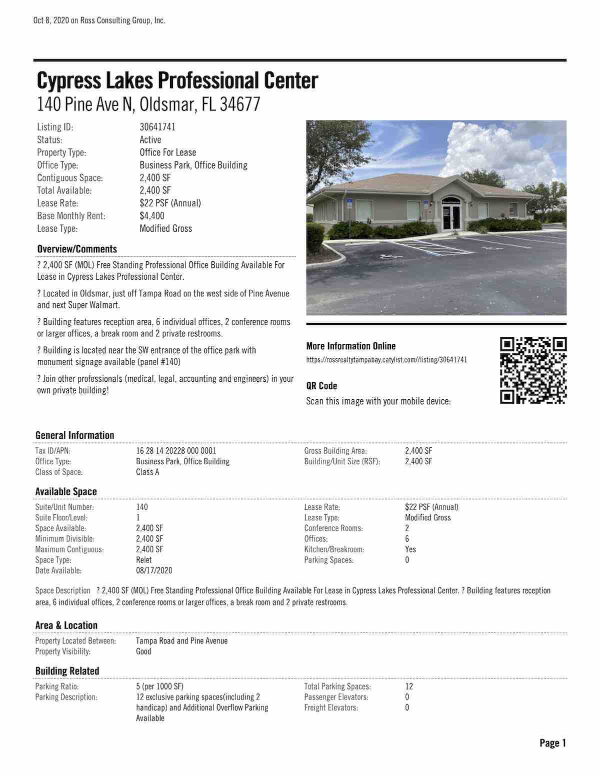 FOR LEASE - Cypress Lakes Professional Center - 140 Pine Ave N, Oldsmar, FL 34677 P1
