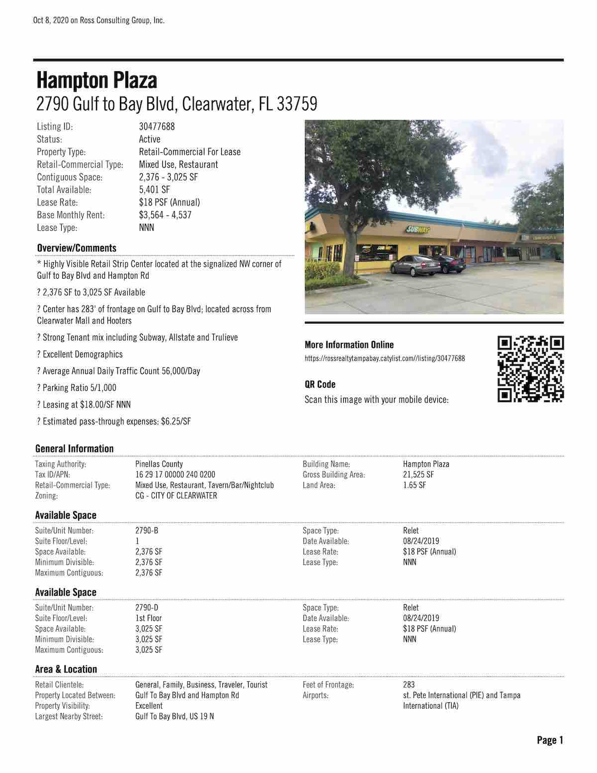 Tampa Commercial Real Estate - FOR LEASE - Hampton Plaza - 2790 Gulf to Bay Blvd, Clearwater, FL 33759 P1