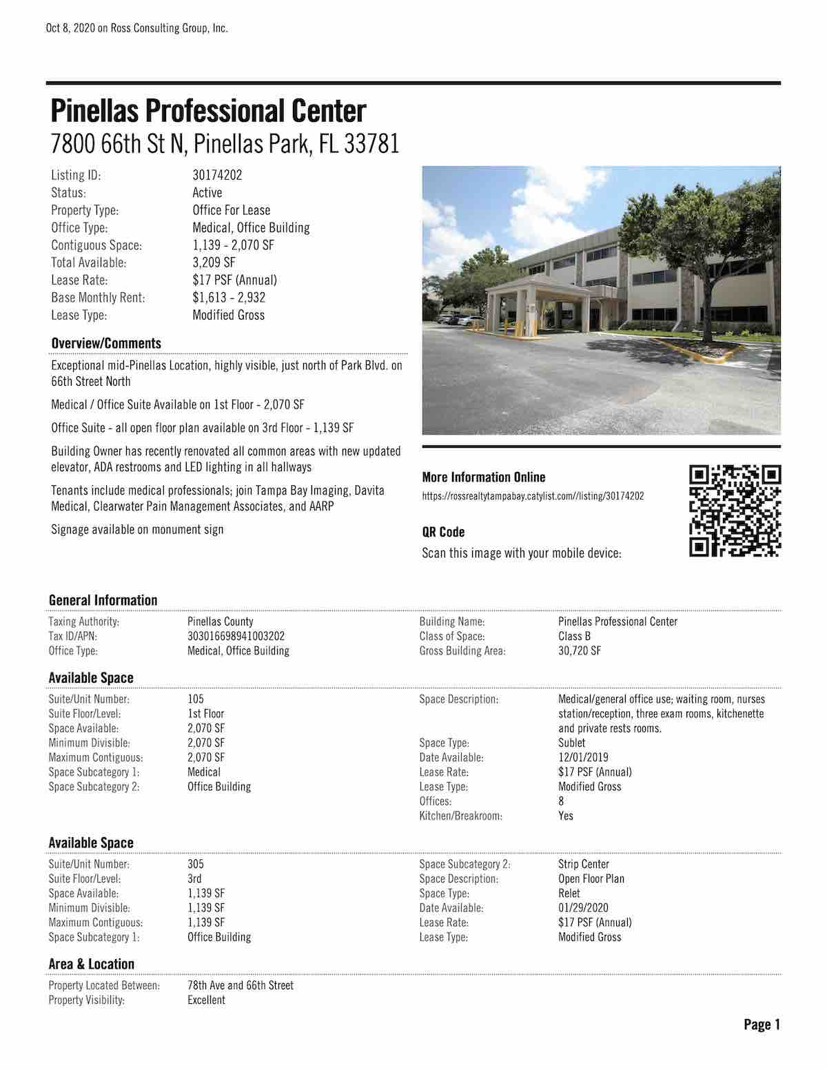 FOR LEASE - Pinellas Professional Center - 7800 66th St N, Pinellas Park, FL 33781 P1