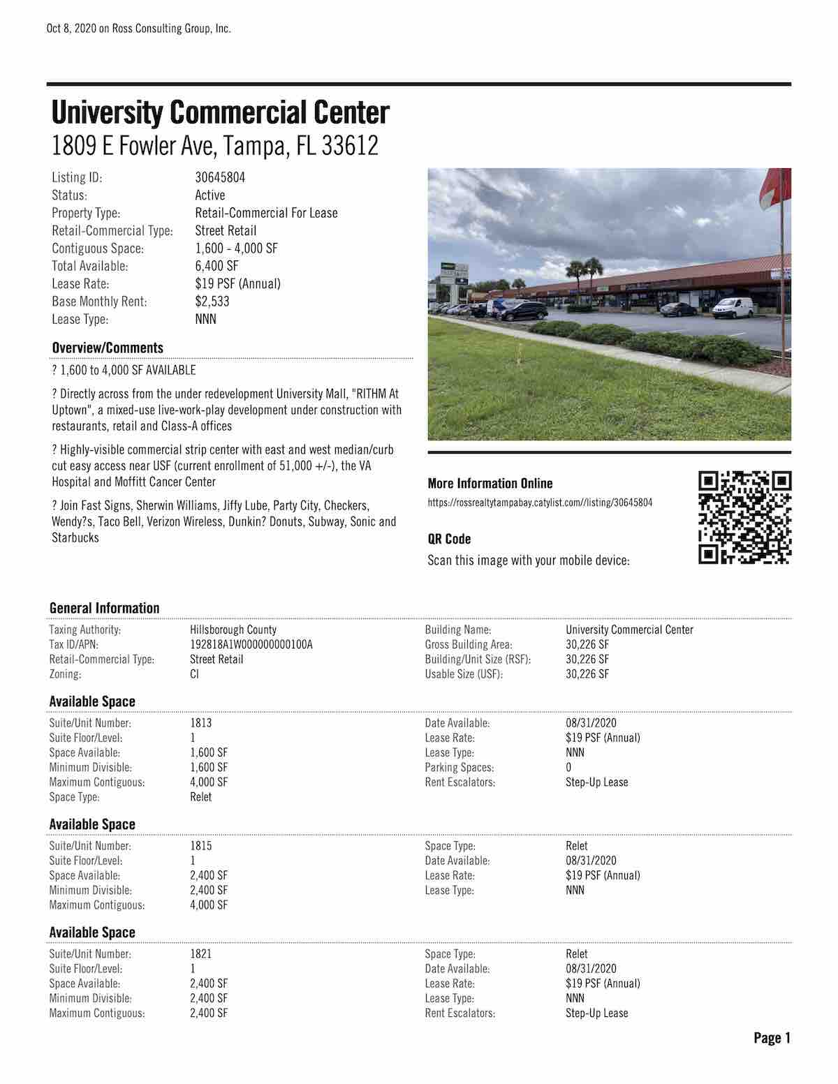 FOR LEASE - University Commercial Center - 1809 E Fowler Ave, Tampa, FL 33612 P1