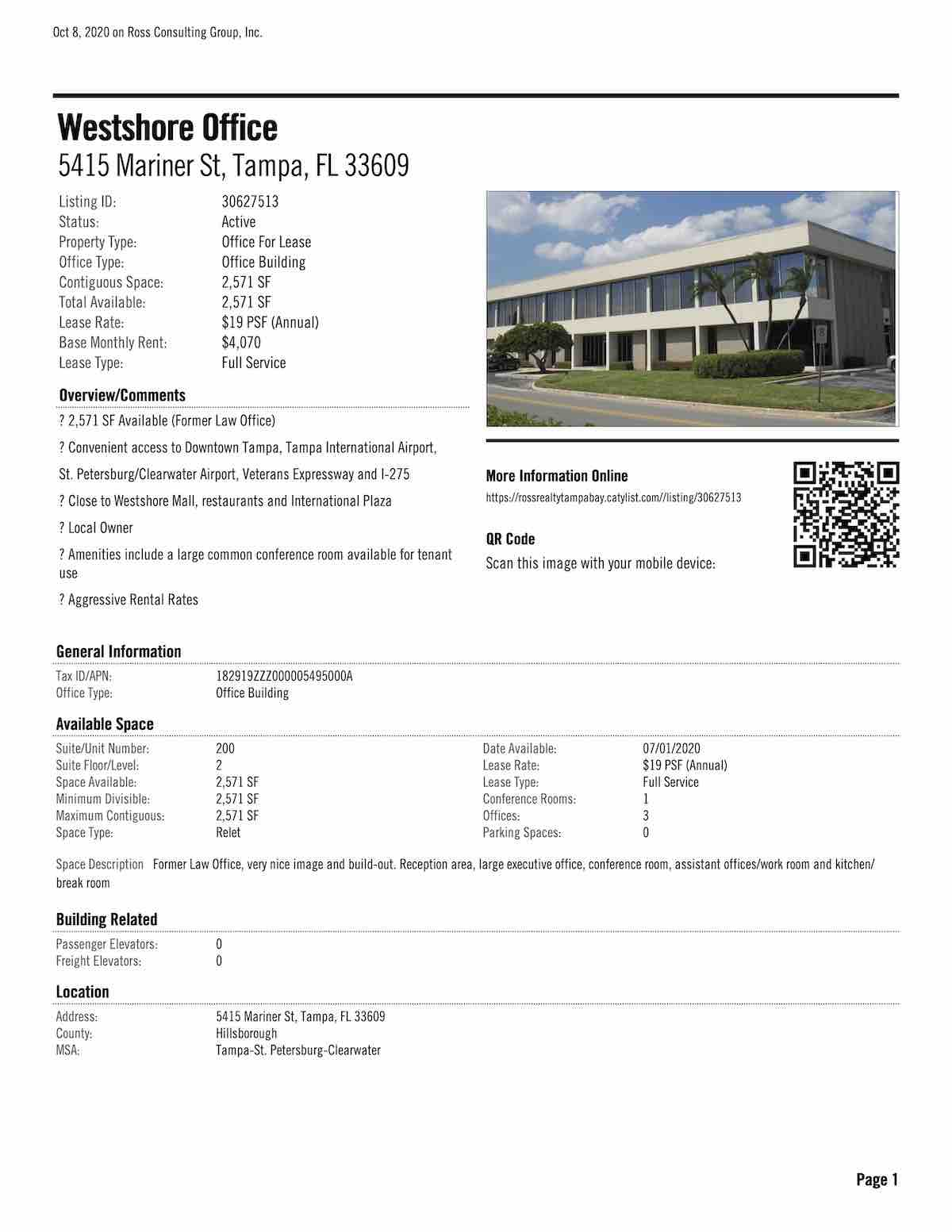 FOR LEASE - Westshore Office - 5415 Mariner St, Tampa, FL 33609 P1
