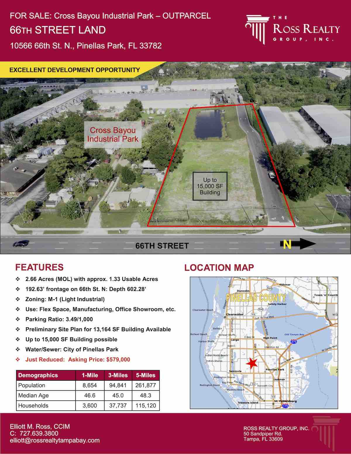 Tampa Commercial Real Estate - FOR SALE - Cross Bayou Industrial Park – Outparcel - 66th Street Land - 10566 66th St. N., Pinellas Park, FL 33782 P1