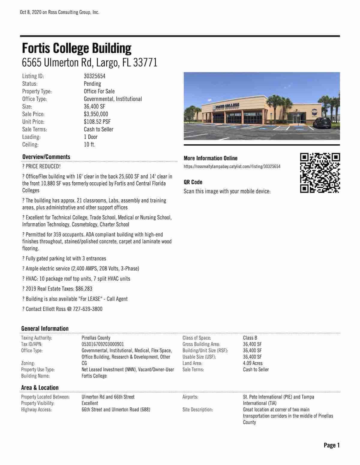 FOR SALE - Fortis College Building - 6565 Ulmerton Rd, Largo, FL 33771 P1