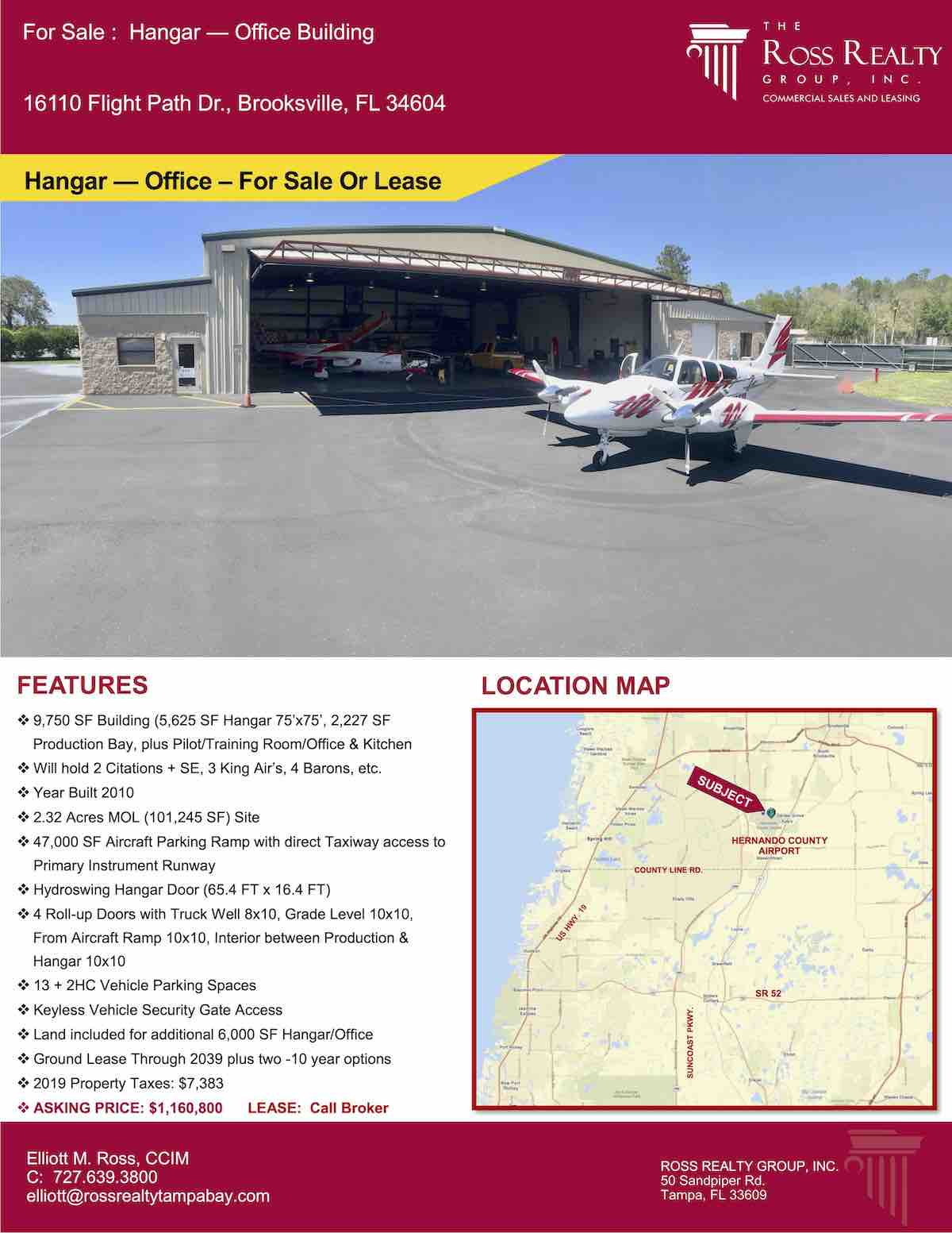 Tampa Commercial Real Estate - FOR SALE - Hangar - Office Building - 16110 Flight Path Dr., Brooksville, FL 34604 P1