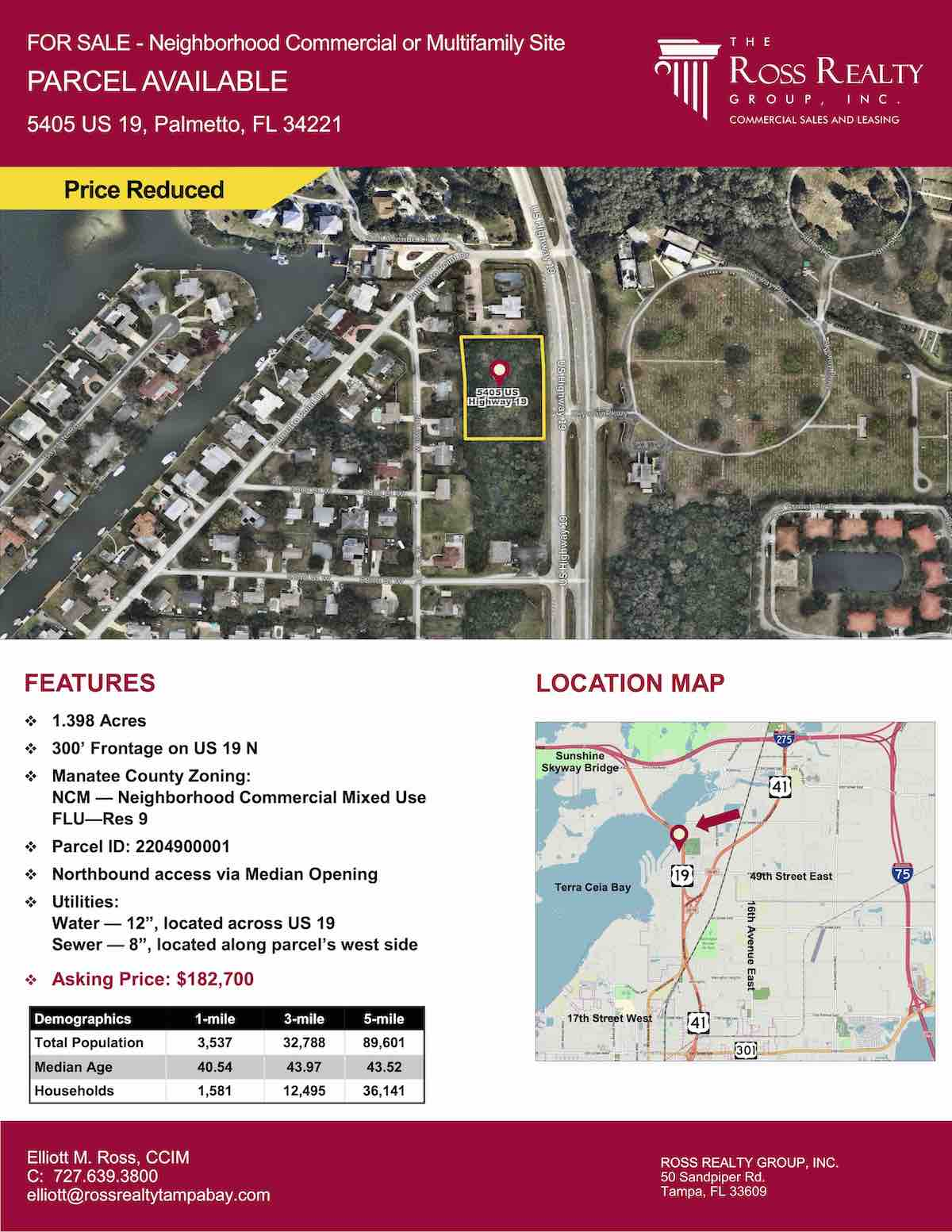 Tampa Commercial Real Estate - FOR SALE - Neighborhood Commercial or Multifamily Site - Parcel Available - 5405 US 19, Palmetto, FL 34221 P1