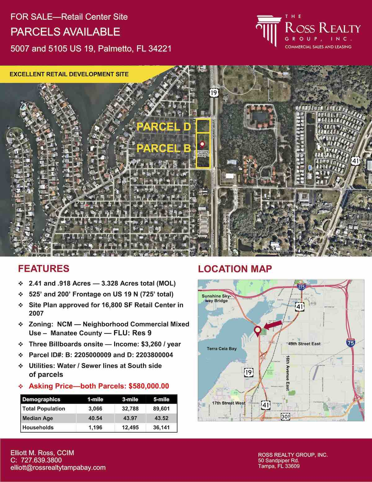 Tampa Commercial Real Estate - FOR SALE - Retail Center Site - Parcels Available - 5007 and 5105 US 19, Palmetto, FL 34221 P1