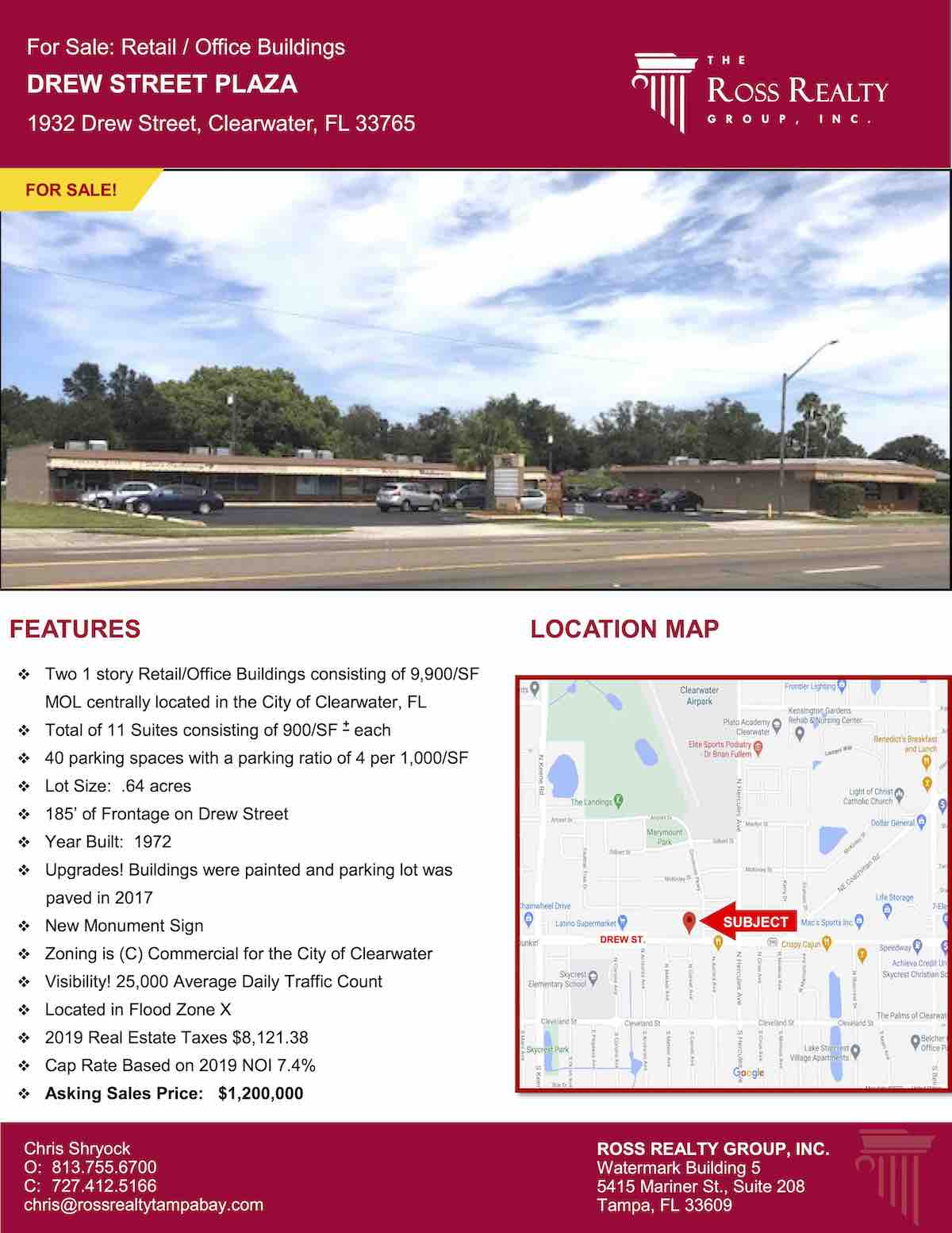 Tampa Commercial Real Estate - FOR SALE - Retail - Office Buildings - Drew Street Plaza - 1932 Drew Street, Clearwater, FL 33765 P1