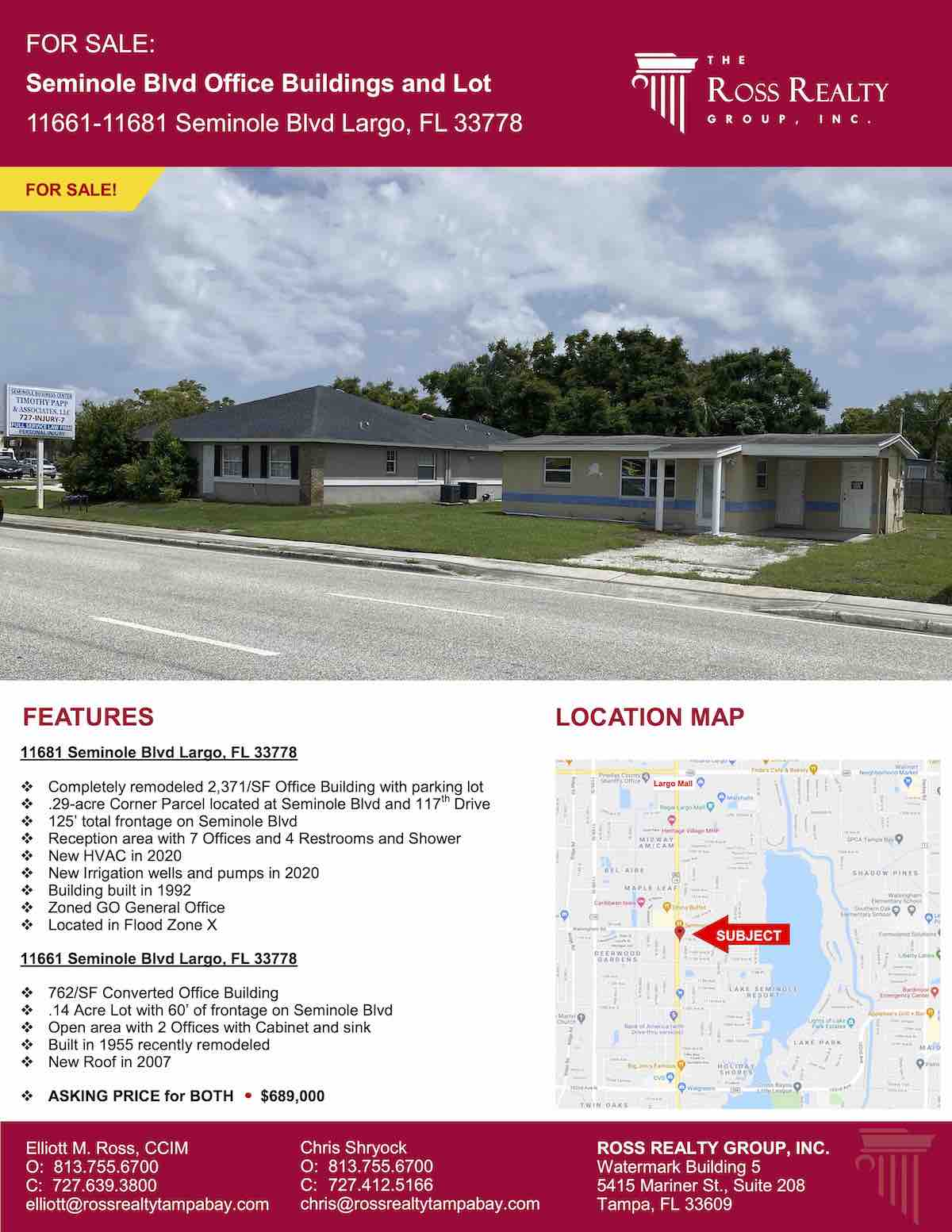 Tampa Commercial Real Estate - FOR SALE - Seminole Blvd Office Buildings and Lot - 11661-11681 Seminole Blvd Largo, FL 33778 P1
