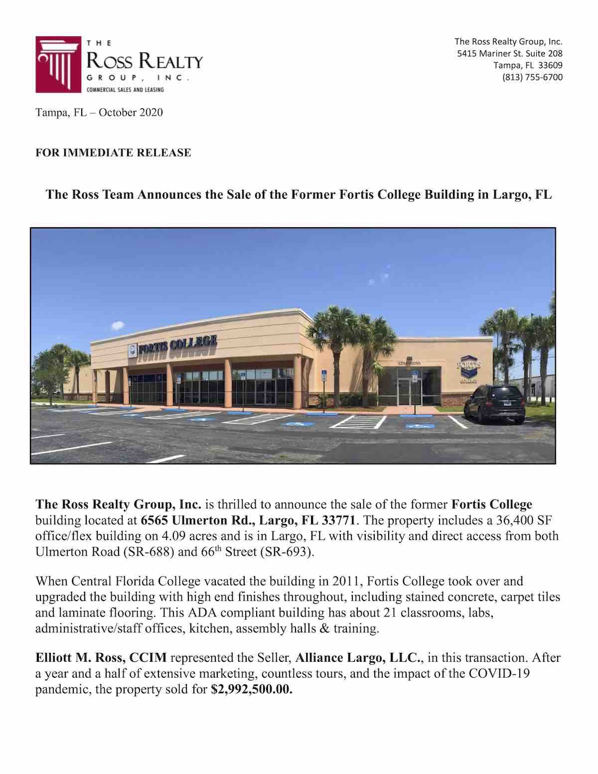 Tampa Commercial Real Estate - Fortis College 6565 Ulmerton Rd., Largo, FL 33771 P1