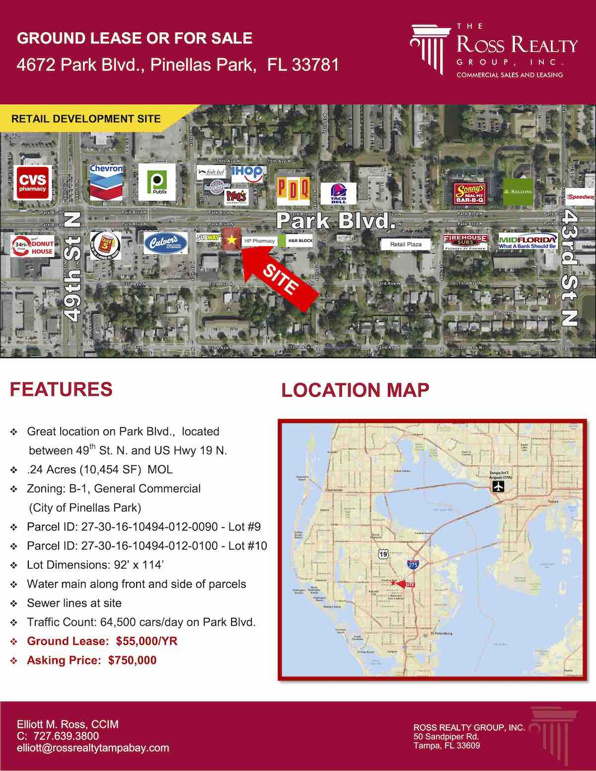 Tampa Commercial Real Estate - GROUND LEASE OR FOR SALE - 4672 Park Blvd., Pinellas Park, FL 33781 P1