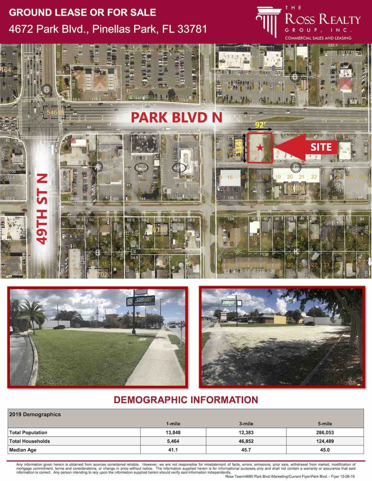 Tampa Commercial Real Estate - GROUND LEASE OR FOR SALE - 4672 Park Blvd., Pinellas Park, FL 33781 P2