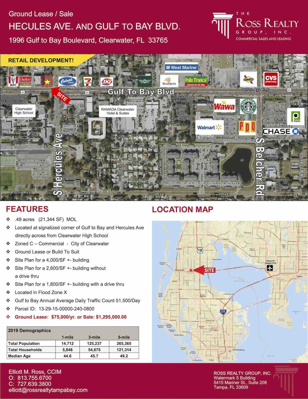 Tampa Commercial Real Estate - GROUND LEASE OR FOR SALE - Hercules Ave. and Gulf to Bay Blvd. - 1996 Gulf to Bay Boulevard, Clearwater, FL 33765 P1