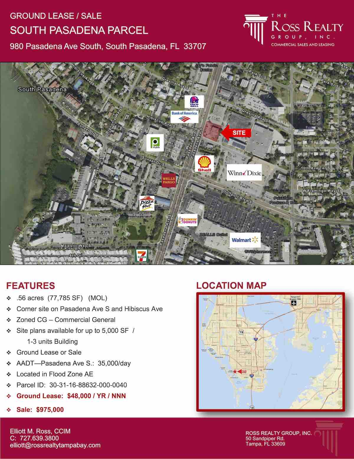Tampa Commercial Real Estate - GROUND LEASE OR FOR SALE - South Pasadena Parcel - 980 Pasadena Ave South, South Pasadena, FL 33707 P1