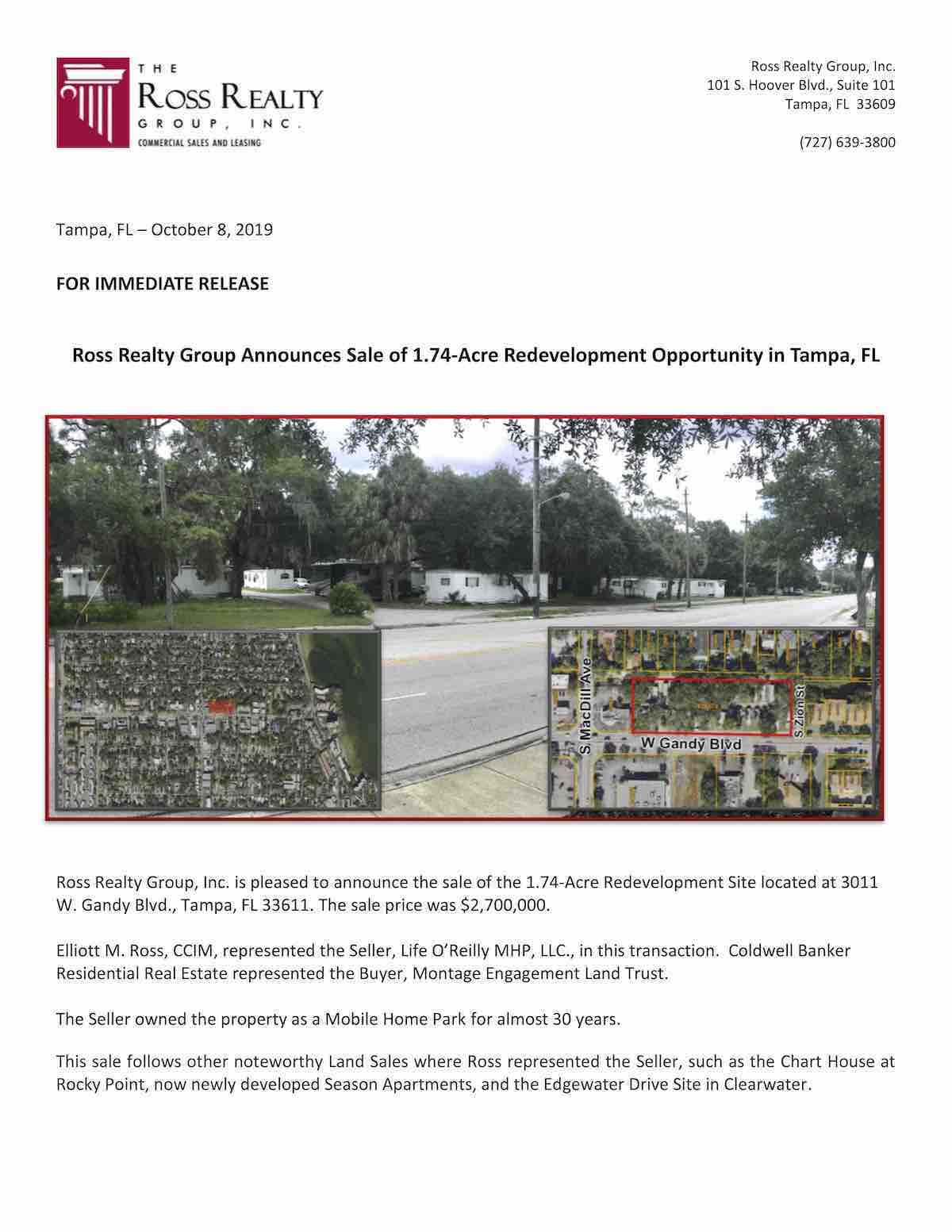 Tampa Commercial Real Estate - PR-20191098-Gandy Press Release-P1