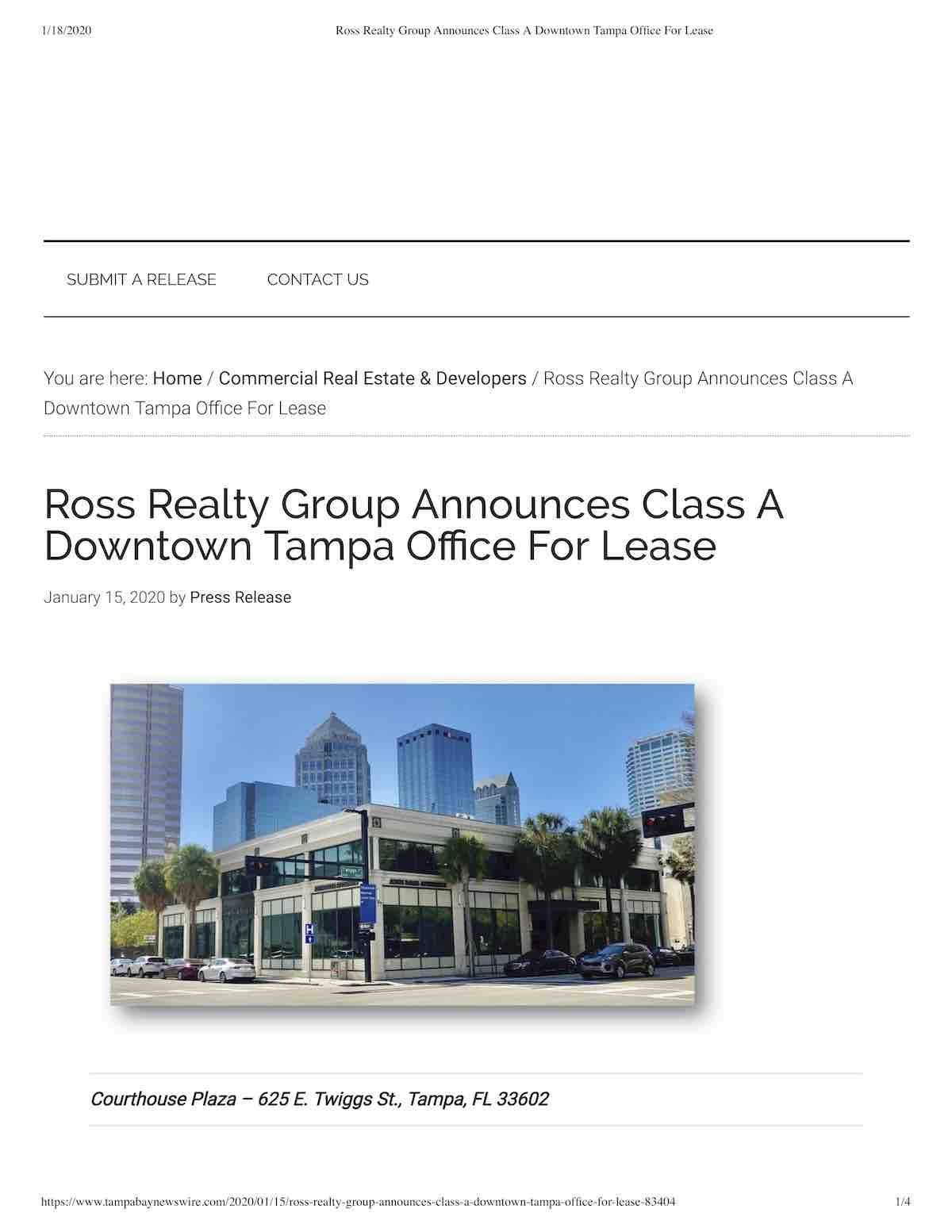 Tampa Commercial Real Estate - PR-20200115-Ross Realty Group Announces Class A Downtown Tampa Office For Lease-p1