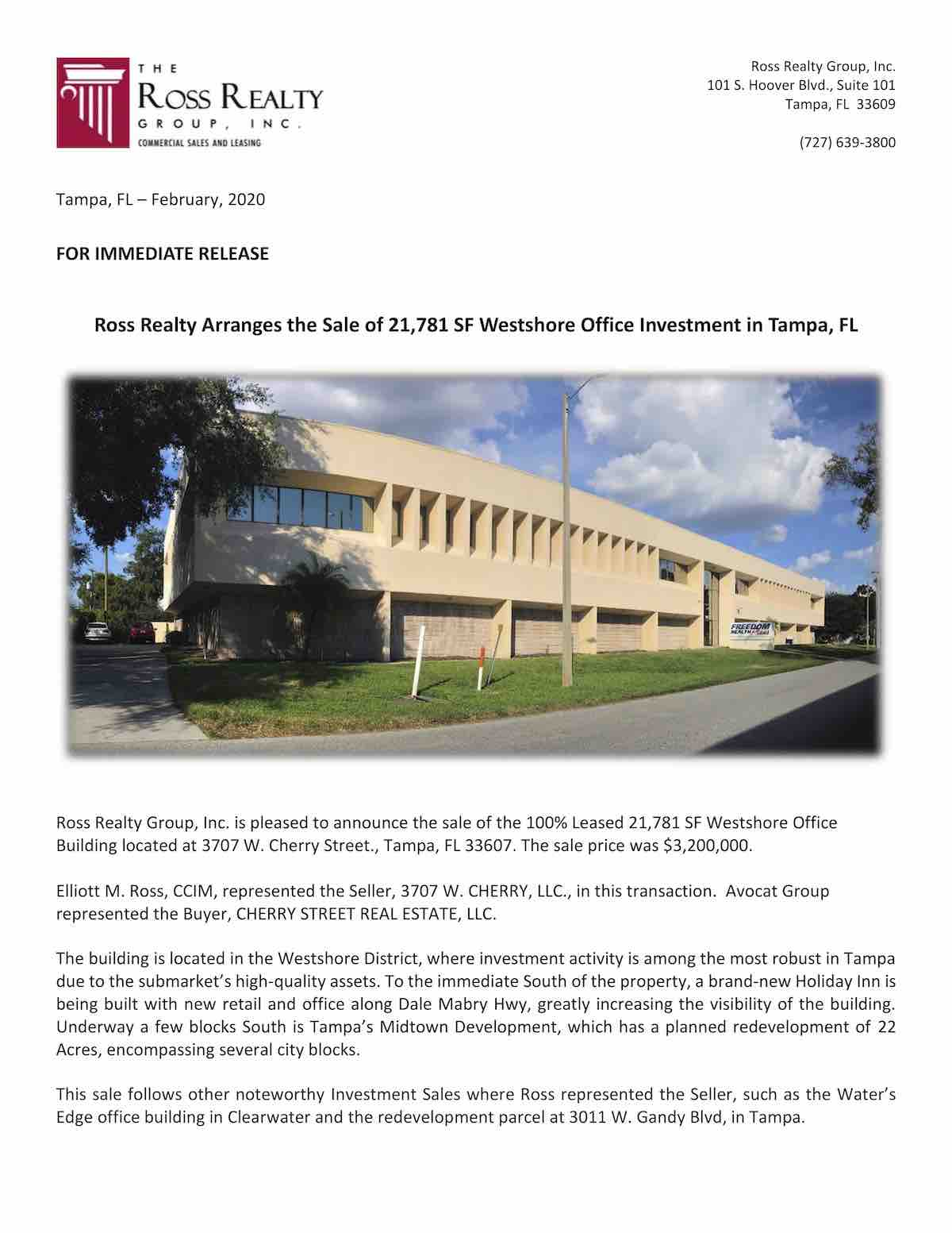 Tampa Commercial Real Estate - PR-20200214-Cherry St. Press Release P1