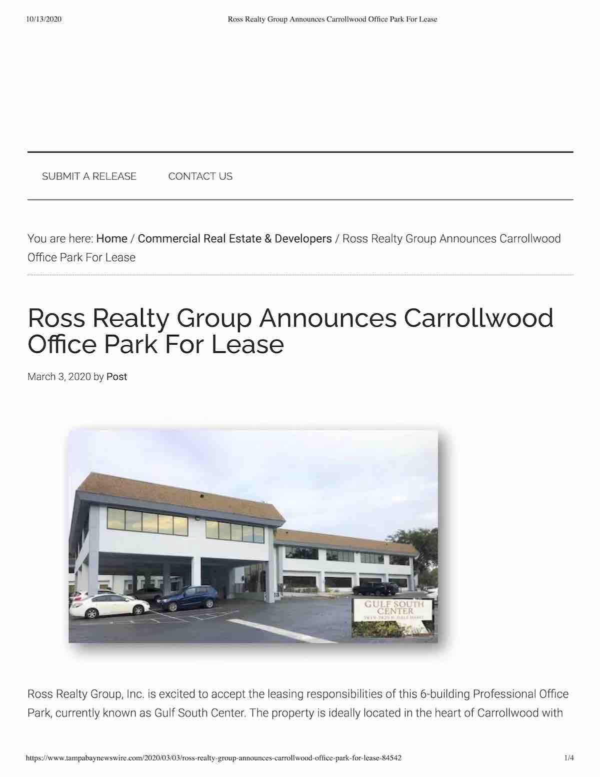 Tampa Commercial Real Estate - Ross Realty Group Announces Carrollwood Office Park For Lease P1