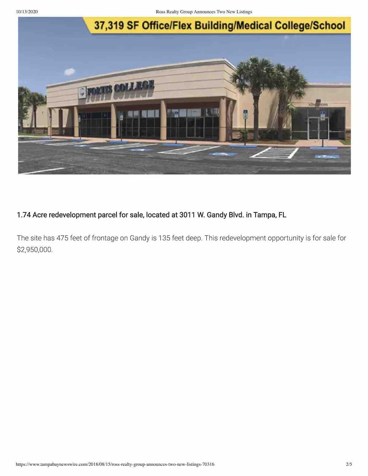Tampa Commercial Real Estate - Ross Realty Group Announces Two New Listings P1