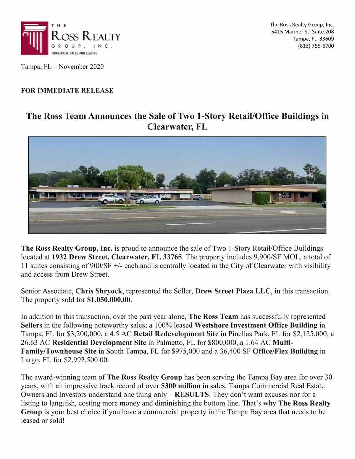 Tampa Commercial Real Estate - Drew St Plaza 1932 SALE - Drew Street, Clearwater, FL 33765 P1