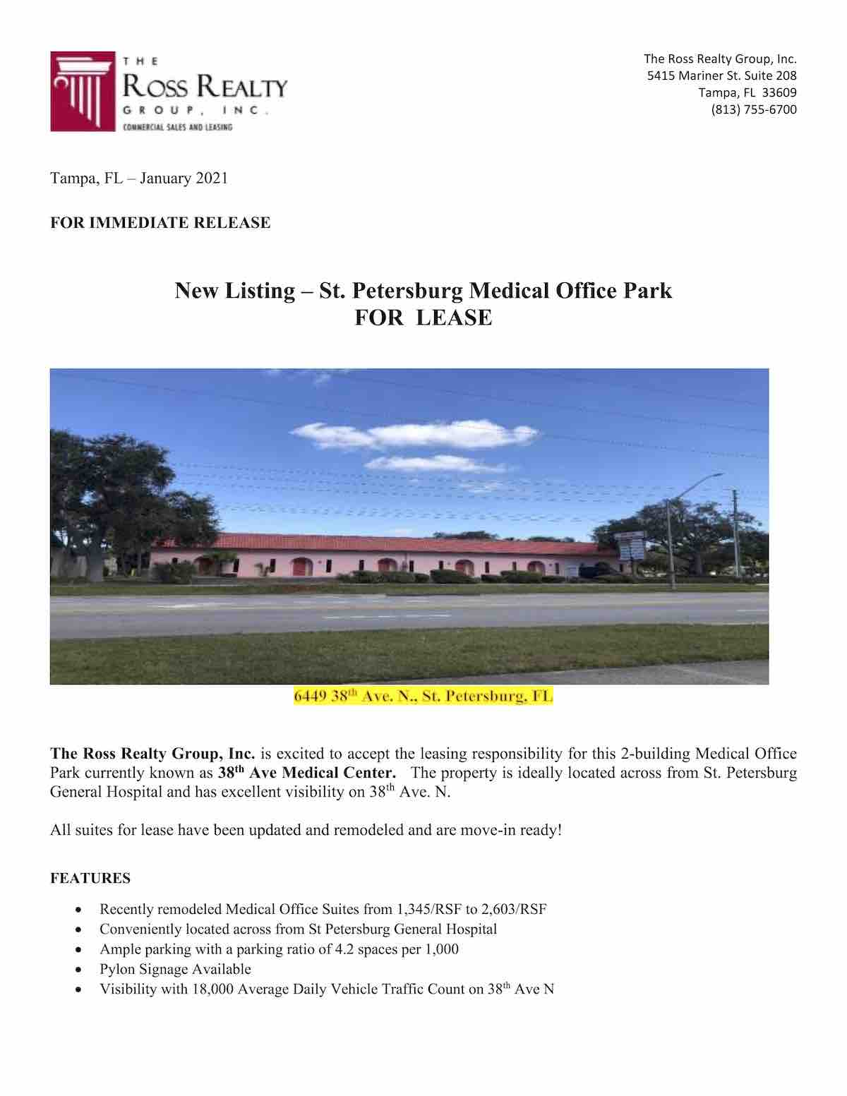 Tampa Commercial Real Estate - RRG-NewListingPR-38th Medical - 6449 38th Ave. N., St. Petersburg, FL 1-21 P1